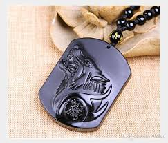 wolf head necklace pendant carved stone