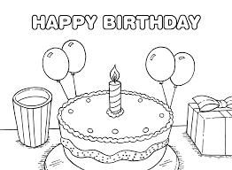 Tranh tô màu bánh kem sinh nhật cho bé tập trang trí