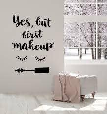 Vinyl Wall Decal Eyelash Makeup Cosmetics Mascara Beauty Salon Quote S Wallstickers4you
