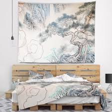 Shop Designart Chinese Blue Tree Art Floral Painting Wall Tapestry Overstock 20923920