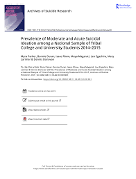 PDF) Prevalence of Moderate and Acute Suicidal Ideation among a National  Sample of Tribal College and University Students 2014–2015