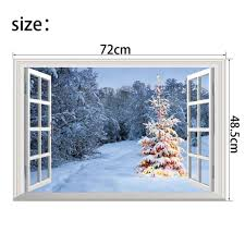 Amazon Com Vanbest Snow Scene 3d Fake Windows Three Dimensional Wall Sticker Home Living Room Bedroom C Christmas Wall Stickers Fake Window Wall Stickers Home