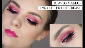 birthday glam makeup tutorial pink glitter cut crease blonde ambitious