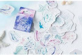 Whale Sticker Ocean Watercolor Stickers Blue Aesthetic Stickers Pack C Watercolorstickerart