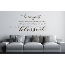 Be Our Guest Wall Decal Sticker Blessed Vinyl Art Lettering Home Decor 33x20 Inch Chocolate Brown Walmart Com Walmart Com