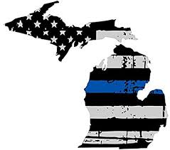 Amazon Com Michigan Tattered Thin Blue Line Us Flag Honoring Our Men Women Of Law Enforcement Car Symbol Sticker Decal Die Cut Vinyl Window Computer Made And Shipped In Usa Arts