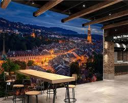Papel دي Parede سويسرا منازل ليلة أضواء الشوارع مدينة بناء خلفيات