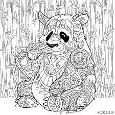 Zentangle Panda Sitting Among Bamboo Stems For Adult Antistress