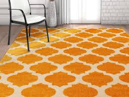 zoe modern trellis orange area rug