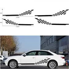 2 Pcs Car Both Side Stripes Decals Stickers Auto Vinyl Graphics Checkered Flag Ebay