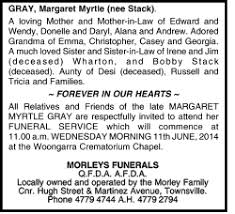 GRAY, Margaret Myrtle   Funeral Notices   Townsville   The Mercury