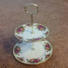 old country roses 2 tier cake stand
