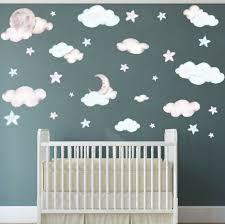 Baby Nursery Clouds Stars Wall Sticker Moon Cloud Diy Decals Kid Room Decor For Sale Online Ebay