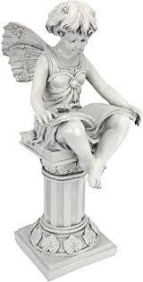 british reading fairy garden statue