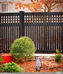 Gorgeous Black Pvc Vinyl Semi Privacy Fence With Old English Lattice And Three Inch Boards By Illusions Vin Privacy Fence Designs Diy Privacy Fence Vinyl Fence