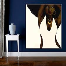 Faicai Art Black And White Wall Art African Afro Sexy Woman Oil Paintings Hand Painted Abstract