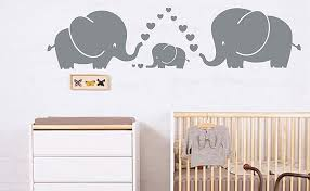 Amazon Com Luckkyy Cute Three Family Elephant Wall Decals For Kid Room Room Decor Baby Nursery Gray Kitchen Dining