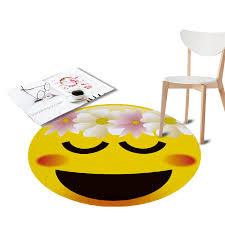 Waterproof Round Rugs Emoji Printed Cute Living Room Doormat Cartoon Non Slip Soft Carpets Door Floor