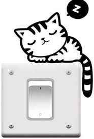 Cute Cat Nap Pet Light Switch Funny Wall Decal Vinyl Stickers Black Amazon Com
