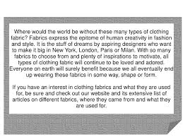 types of clothing fabrics powerpoint