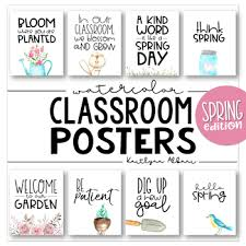 classroom posters fun spring inspirational quotes watercolor