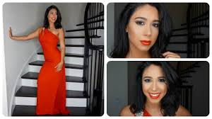 neutral prom makeup look with red dress