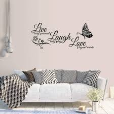 Amazon Com Supzone Live Laugh Love Wall Stickers Lettering Sticker Quotes Sayings Wall Decals Removable Vinyl Living Room Bedroom Nursery Room Butterfly Flowers Wall Decor Kitchen Dining