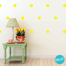 Bright Yellow Polka Dot Wall Decals Peel And Stick Polka Dot Wall Stickers