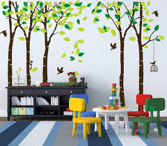 Amazon Com Mafent Giant Family Tree Wall Decals Forest Birch Tree Wall Stickers Birds Wall Art For Kids Room Nursery Bedroom Living Room Decoration Dark Brown And Green Kitchen Dining