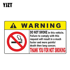 Yjzt 16cm 8 4cm Thank You For Not Smoking Warning Decal Car Sticker Pvc 12 0726 Car Stickers Aliexpress