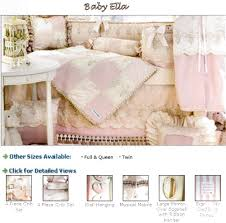 toile baby bedding for a baby girl or