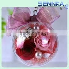 rose flower in hang glass ball