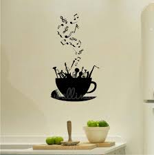 Musical Coffee Cup Notes And Instruments Wall Decal