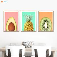 Avocado Kiwi Fruit Pineapple Prints Kitchen Wall Art Tropical Fruit Decor Modern Minimalist Canvas Painting Kids Room Framed Painting Calligraphy Aliexpress