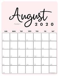 Free!) Printable August 2020 Calendar ...