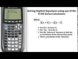 solving implicit equations on the ti 84