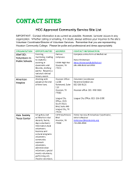 Contact Sites HCC Approved Community Service Site List