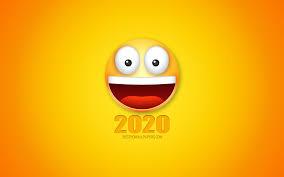 تحميل خلفيات 2020 الفن مضحك سنة جديدة سعيدة عام 2020 3d Smile
