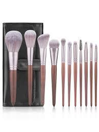 11pcs makeup brushes set walnut handle