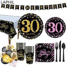 Laphil 30 Cumpleanos Decoracion Fiesta Vajilla Desechable Mantel