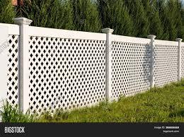 White Vinyl Fence Image Photo Free Trial Bigstock