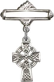 celtic cross baby badge pin baptism