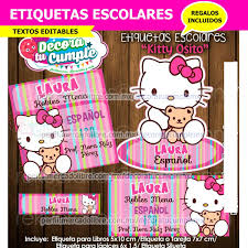 Etiquetas Escolares Hello Kitty Osito Gato Editable H141 19 90