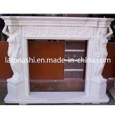 stone white marble carved fireplace
