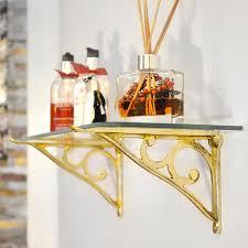 brass simple scroll glass shelf bracket