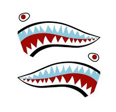 Motorcycle Flying Tiger Shark Ww P 40 Fighter Teeth Vinyl Decal Sticker Set Red