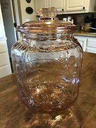 large glass cookie jar antique vintage