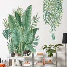 Green Leaf Plant Pvc Wall Sticker Diy Mural Art Home Decal Baseboard Wall Decoration For Balcony Skirting Home Kitchen Supplies Wish