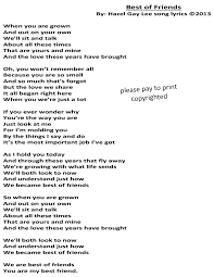 best of friends song lyrics only parent to a