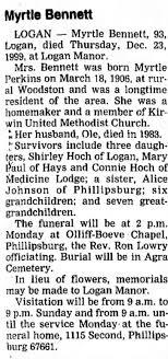 Obituary of Myrtle Perkins Bennett, 93, daughter of Henry Milton Perkins. -  Newspapers.com